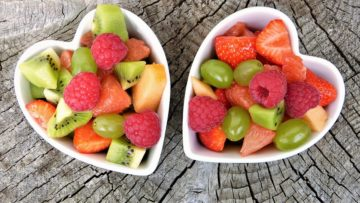 Fruit salad in heart-shaped bowls